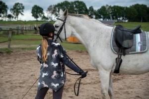 Frau mit Pferd und Dressursattel