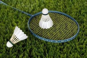 Zwei Federbälle, die auf einem Badmintonschläger auf einer Wiese liegen